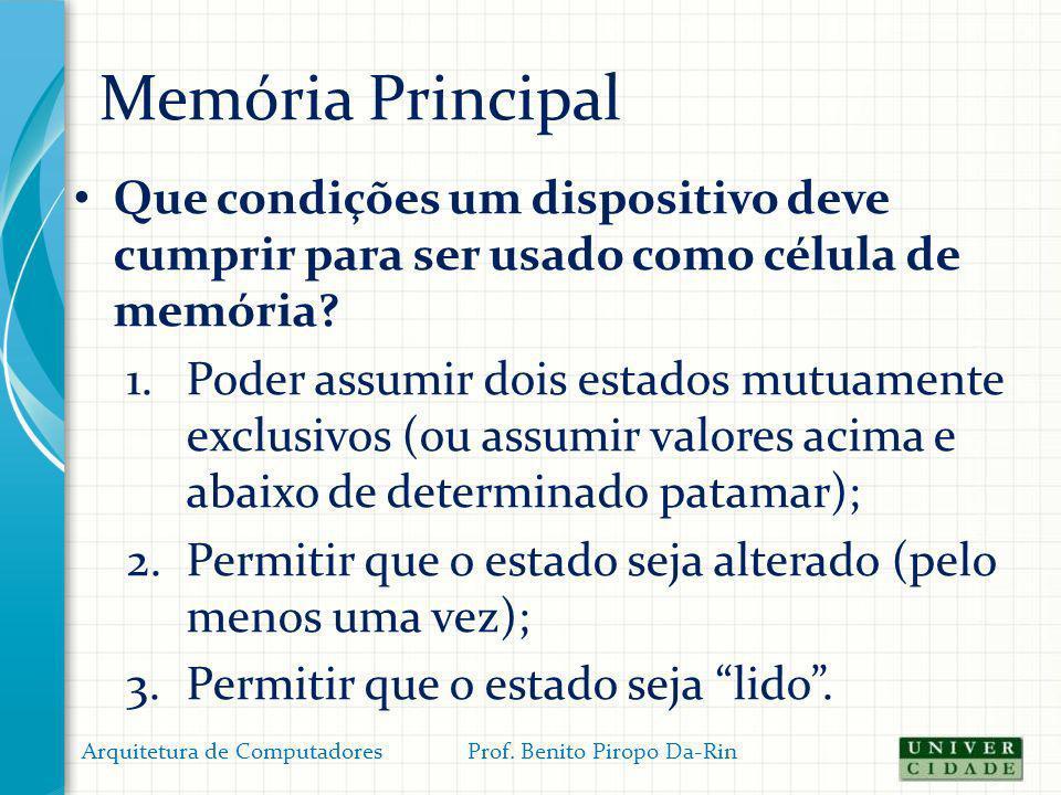Memória Principal Organização (física) da memória: – A memória é organizada em uma matriz de linhas e colunas; – Cada linha pode conter uma ou mais posições de memória; – O acesso à memória (leitura ou escrita) é feito linha a linha; – Não obstante isto, cada posição de memória é identificada por seu endereço.