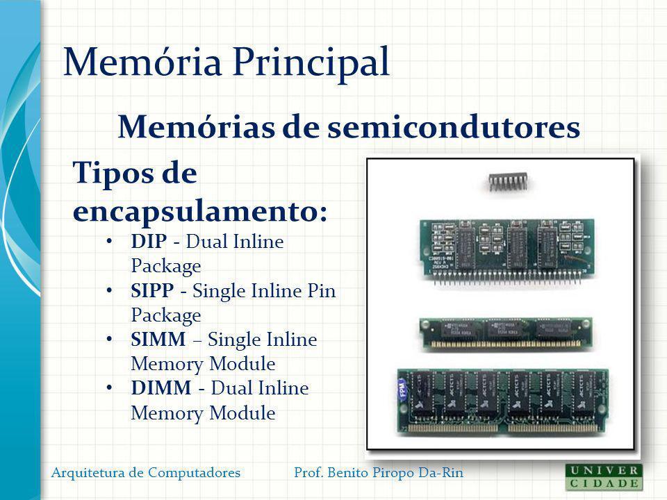Memória Principal Organização (física) da memória: Registrador de dados da memória (RDM) A capacidade (largura) da linha depende da largura (em bits) do RDM e é igual ao número de linhas do barramento de dados ; Arquitetura de Computadores Prof.