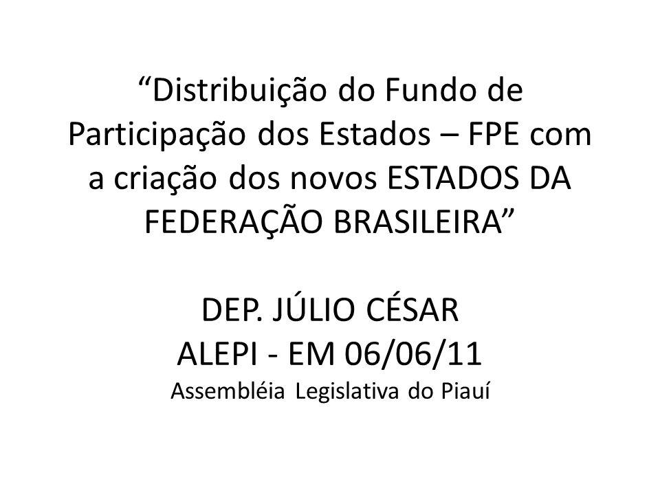 Distribuição do Fundo de Participação dos Estados – FPE com a criação dos novos ESTADOS DA FEDERAÇÃO BRASILEIRA DEP.