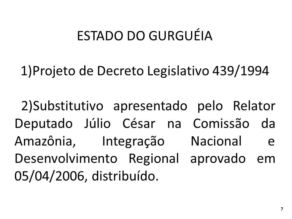 ESTADO DO GURGUÉIA 1)Projeto de Decreto Legislativo 439/1994 2)Substitutivo apresentado pelo Relator Deputado Júlio César na Comissão da Amazônia, Integração Nacional e Desenvolvimento Regional aprovado em 05/04/2006, distribuído.