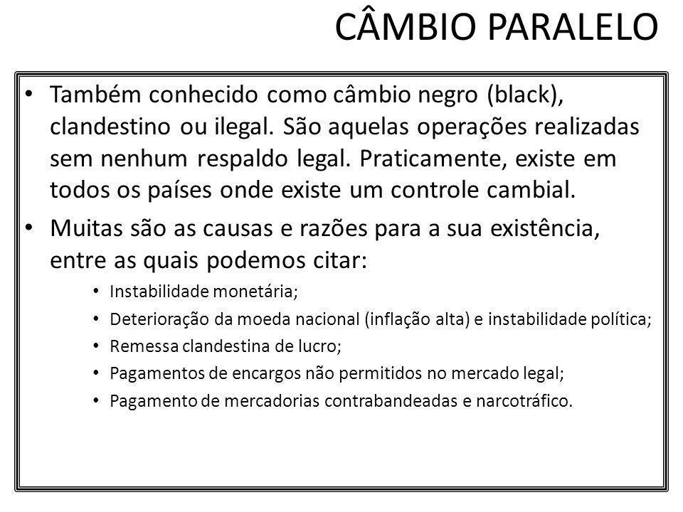 CÂMBIO PARALELO Também conhecido como câmbio negro (black), clandestino ou ilegal. São aquelas operações realizadas sem nenhum respaldo legal. Pratica
