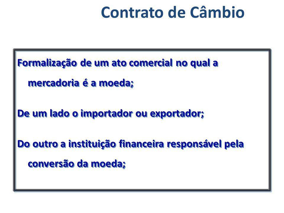Contrato de Câmbio Formalização de um ato comercial no qual a mercadoria é a moeda; De um lado o importador ou exportador; Do outro a instituição fina
