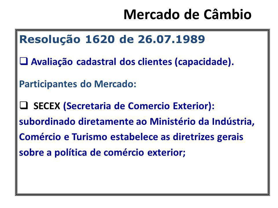 Resolução 1620 de 26.07.1989 Avaliação cadastral dos clientes (capacidade). Participantes do Mercado: SECEX (Secretaria de Comercio Exterior): subordi