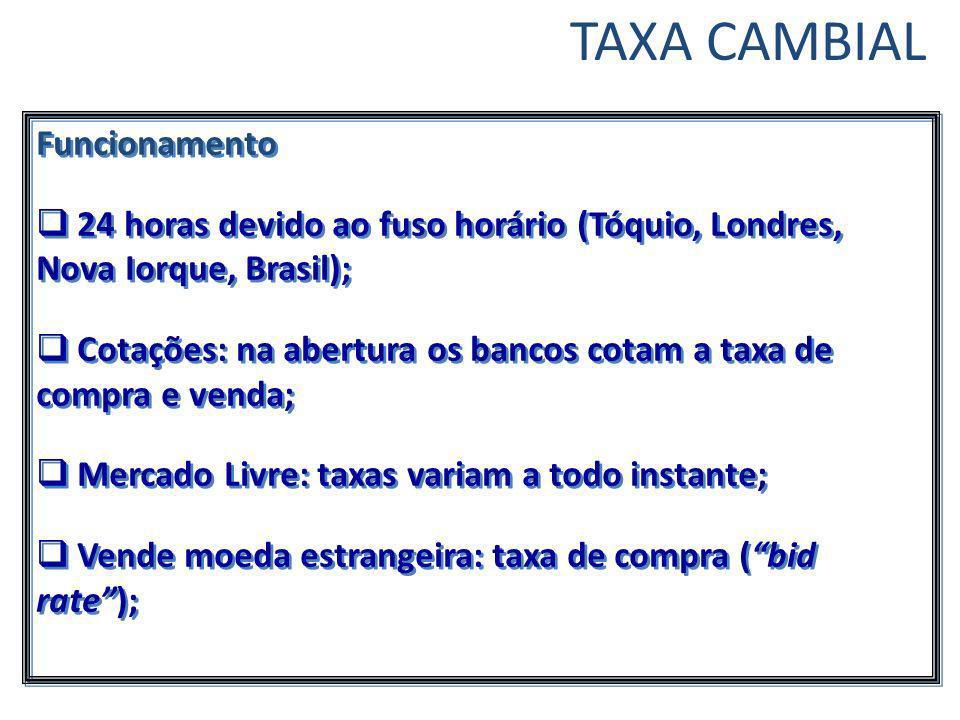 TAXA CAMBIAL Funcionamento 24 horas devido ao fuso horário (Tóquio, Londres, Nova Iorque, Brasil); Cotações: na abertura os bancos cotam a taxa de com