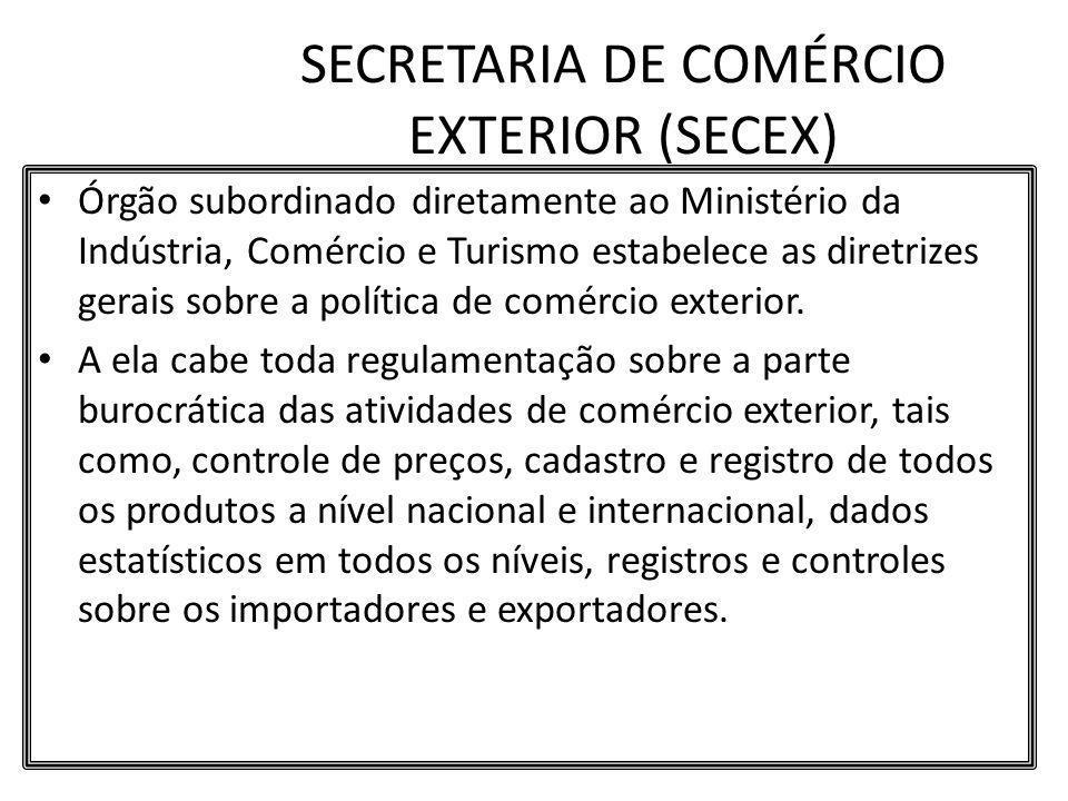 SECRETARIA DE COMÉRCIO EXTERIOR (SECEX) Órgão subordinado diretamente ao Ministério da Indústria, Comércio e Turismo estabelece as diretrizes gerais s