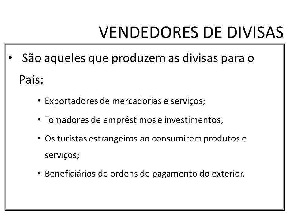 VENDEDORES DE DIVISAS São aqueles que produzem as divisas para o País: Exportadores de mercadorias e serviços; Tomadores de empréstimos e investimento
