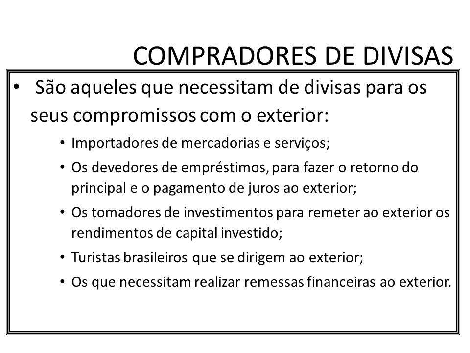 COMPRADORES DE DIVISAS São aqueles que necessitam de divisas para os seus compromissos com o exterior: Importadores de mercadorias e serviços; Os deve
