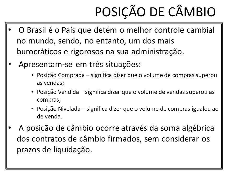POSIÇÃO DE CÂMBIO O Brasil é o País que detém o melhor controle cambial no mundo, sendo, no entanto, um dos mais burocráticos e rigorosos na sua admin