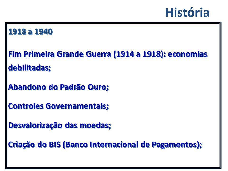 1918 a 1940 Fim Primeira Grande Guerra (1914 a 1918): economias debilitadas; Abandono do Padrão Ouro; Controles Governamentais; Desvalorização das moe