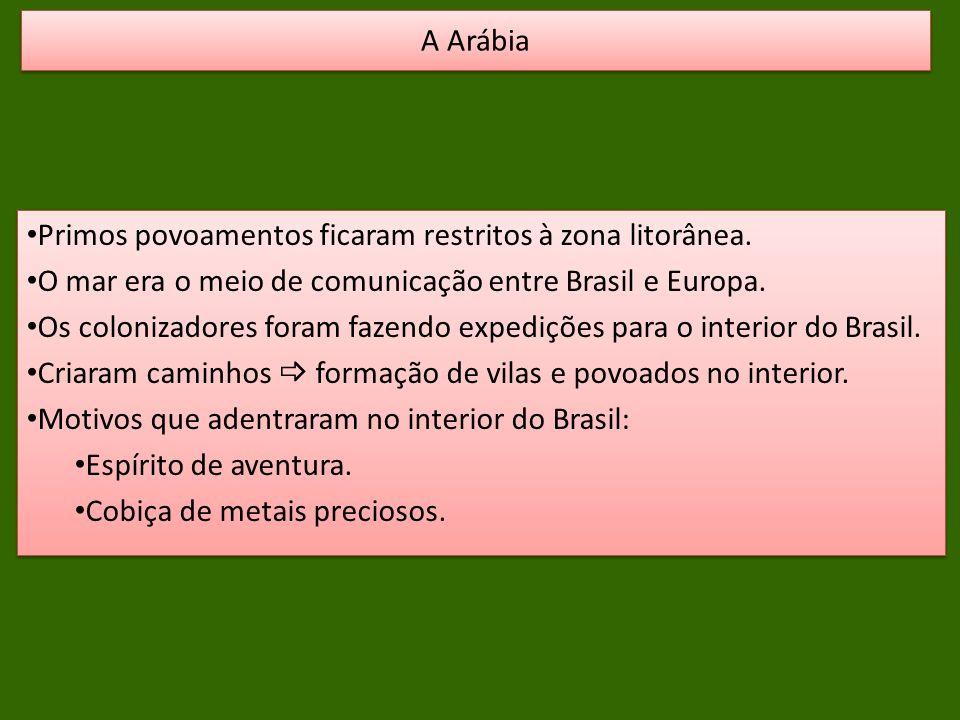 Primos povoamentos ficaram restritos à zona litorânea. O mar era o meio de comunicação entre Brasil e Europa. Os colonizadores foram fazendo expediçõe