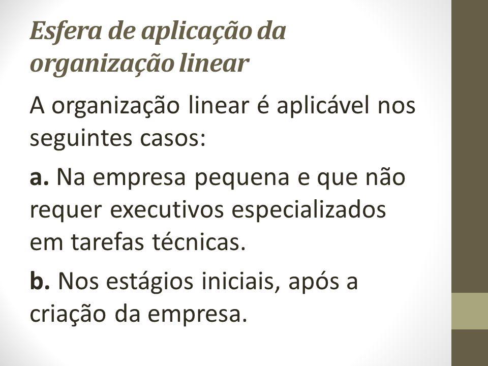Esfera de aplicação da organização linear A organização linear é aplicável nos seguintes casos: a.