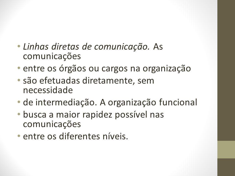 Linhas diretas de comunicação. As comunicações entre os órgãos ou cargos na organização são efetuadas diretamente, sem necessidade de intermediação. A