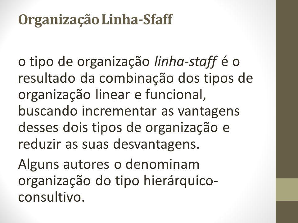 Organização Linha-Sfaff o tipo de organização linha-staff é o resultado da combinação dos tipos de organização linear e funcional, buscando incrementa