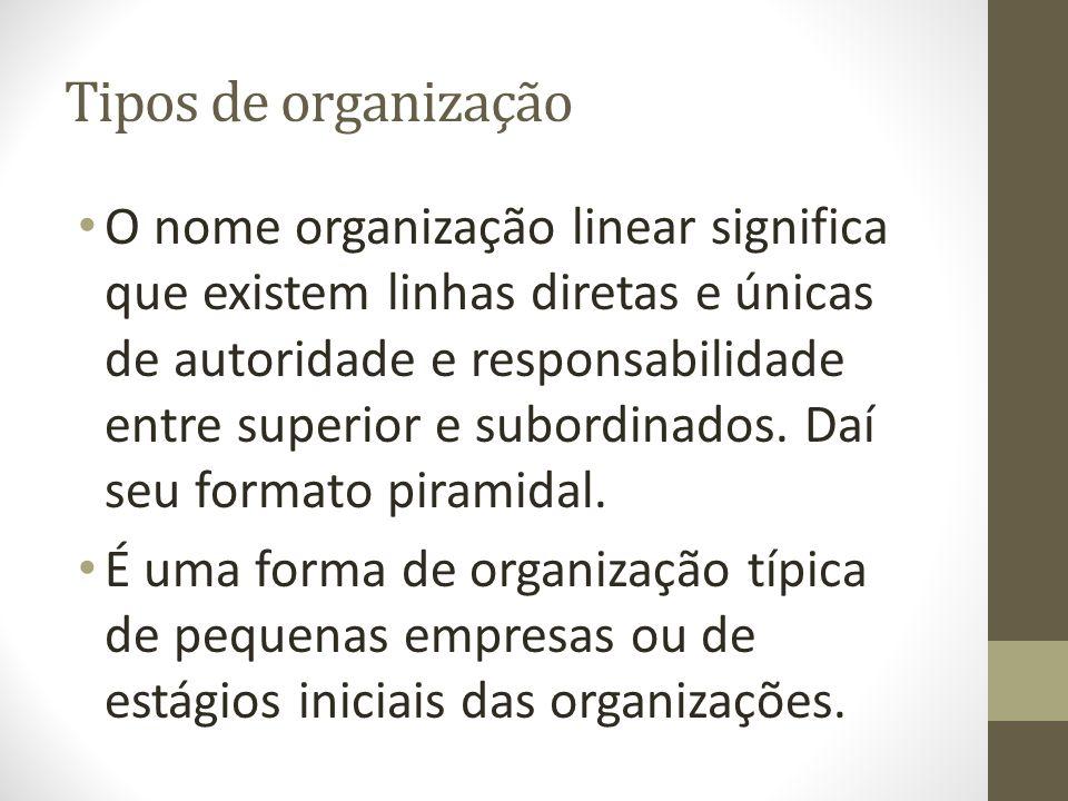 Tipos de organização O nome organização linear significa que existem linhas diretas e únicas de autoridade e responsabilidade entre superior e subordinados.