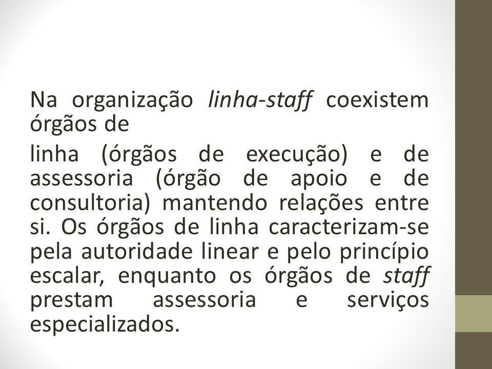 Na organização linha-staff coexistem órgãos de linha (órgãos de execução) e de assessoria (órgão de apoio e de consultoria) mantendo relações entre si.