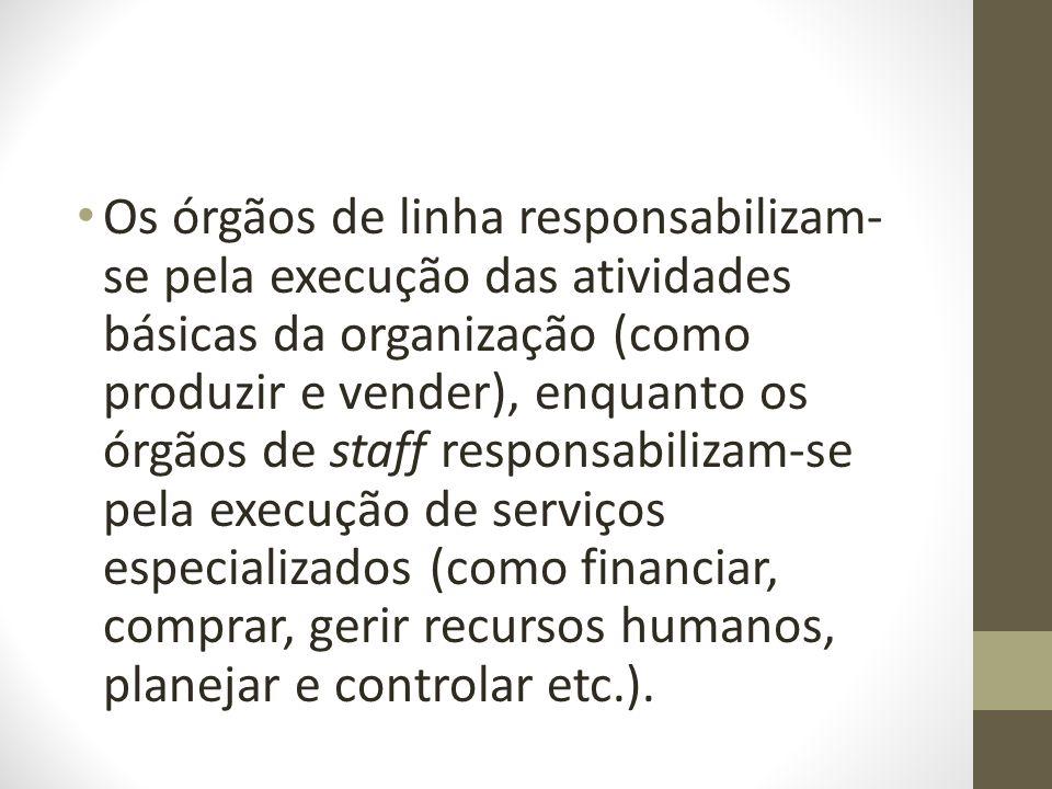 Os órgãos de linha responsabilizam- se pela execução das atividades básicas da organização (como produzir e vender), enquanto os órgãos de staff respo