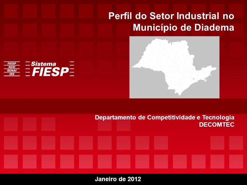 12 Diadema – 1.4 Evolução do Salário Médio Mensal por Setor da Indústria 2006/ 2009 (R$) Os 5 setores que apresentam as maiores médias salariais industriais mensais do Município em 2009 são: 1.MANUTENÇÃO, REPARAÇÃO E INSTALAÇÃO DE MÁQUINAS E EQUIPAMENTOSR$4.431,00/ mês 2.FABRICAÇÃO COQUE, PRODUTOS DERIVADOS PETRÓLEO BIOCOMBUSTÍVEIS R$3.242,90/ mês 3.FABRICAÇÃO DE MÁQUINAS E EQUIPAMENTOSR$2.373,89/ mês 4.FABRICAÇÃO VEÍCULOS AUTOMOTORES, REBOQUES CARROCERIAS R$2.194,87/ mês 5.FABRICAÇÃO DE PRODUTOS DE MINERAIS NÃO-METÁLICOSR$2.075,24/ mês