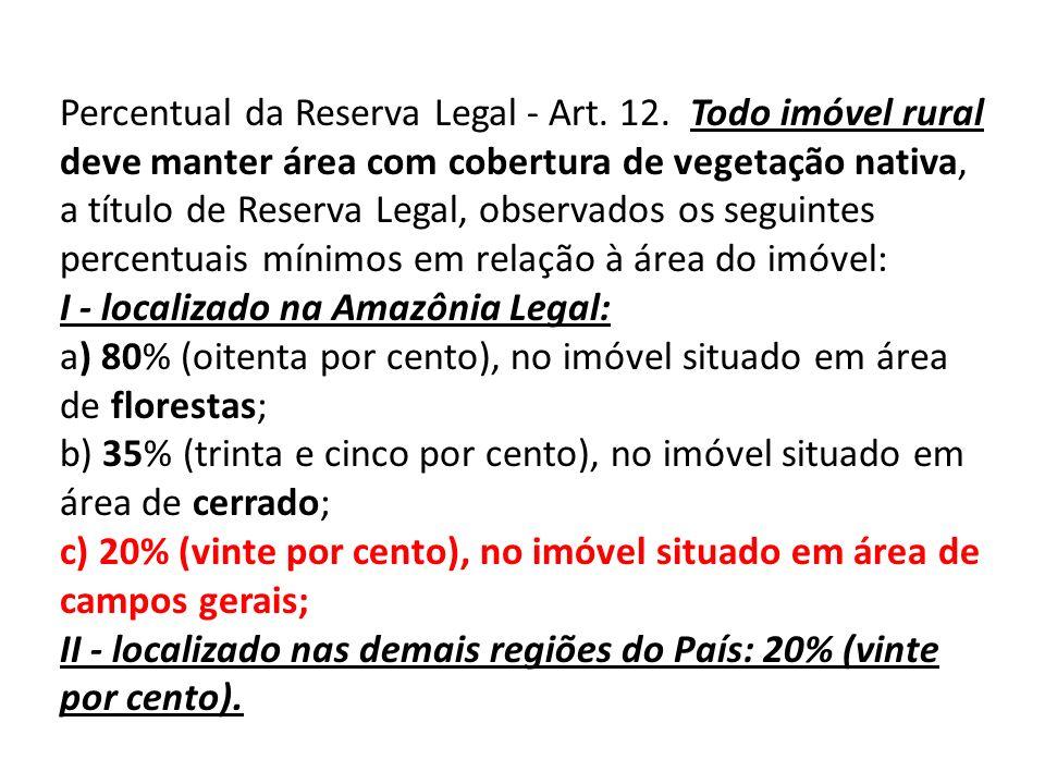 Percentual da Reserva Legal - Art.12.