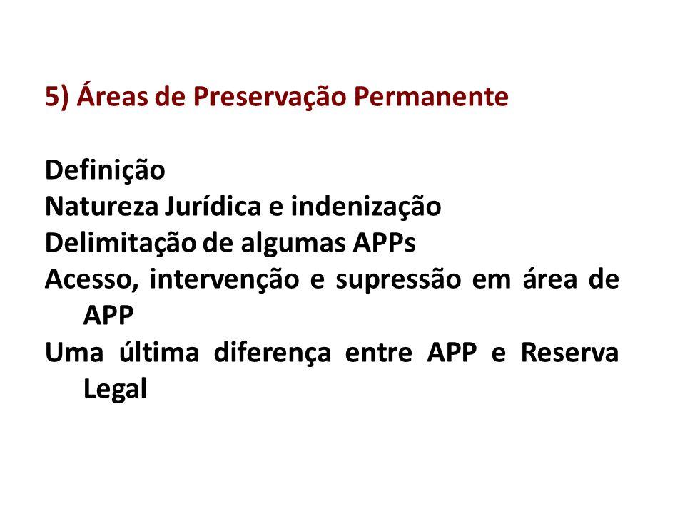 5) Áreas de Preservação Permanente Definição Natureza Jurídica e indenização Delimitação de algumas APPs Acesso, intervenção e supressão em área de APP Uma última diferença entre APP e Reserva Legal