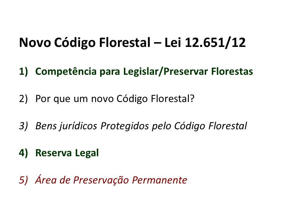 Novo Código Florestal – Lei 12.651/12 1)Competência para Legislar/Preservar Florestas 2)Por que um novo Código Florestal.