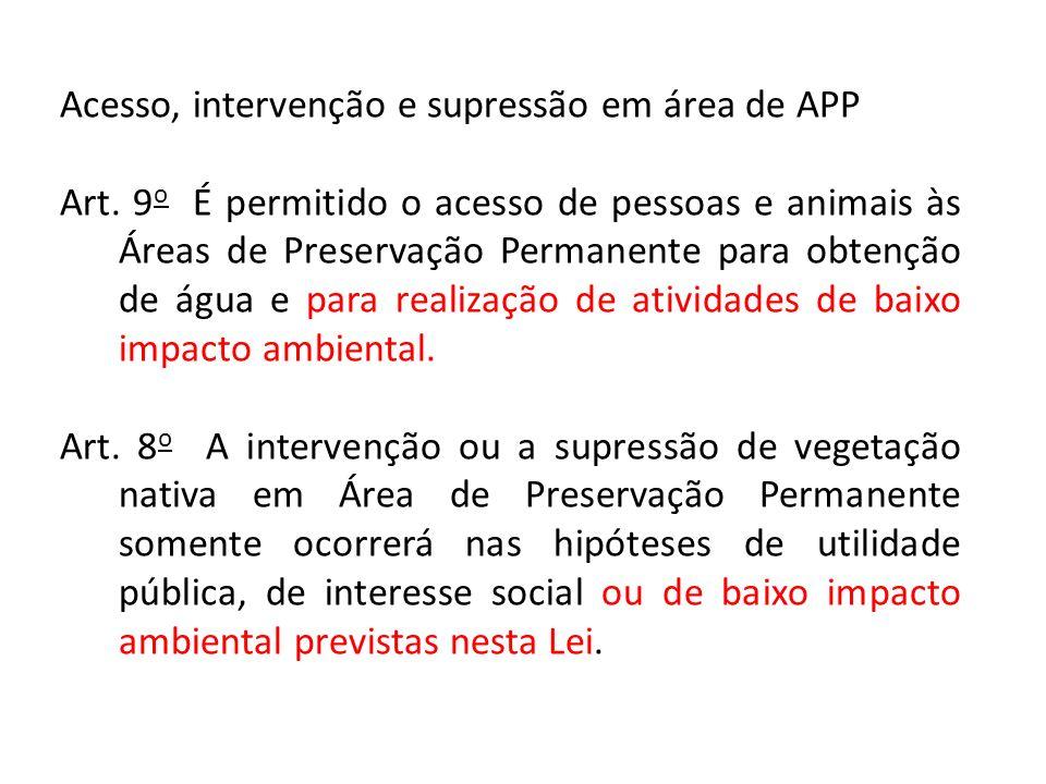 Acesso, intervenção e supressão em área de APP Art.