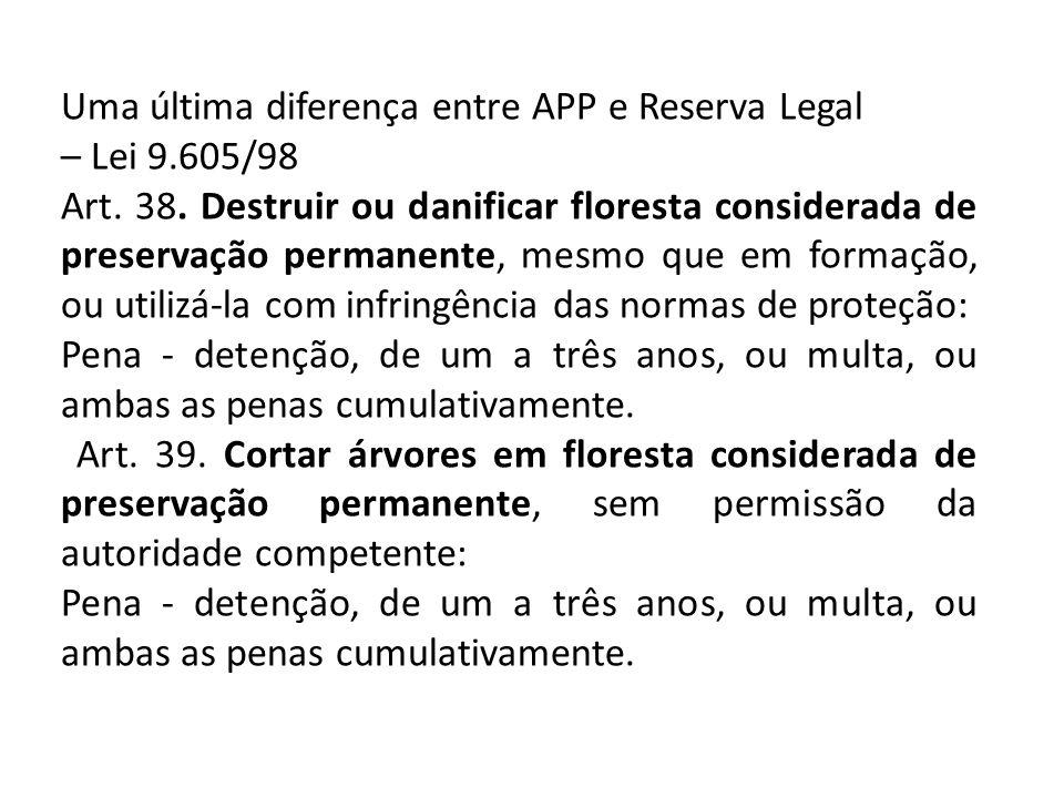 Uma última diferença entre APP e Reserva Legal – Lei 9.605/98 Art.