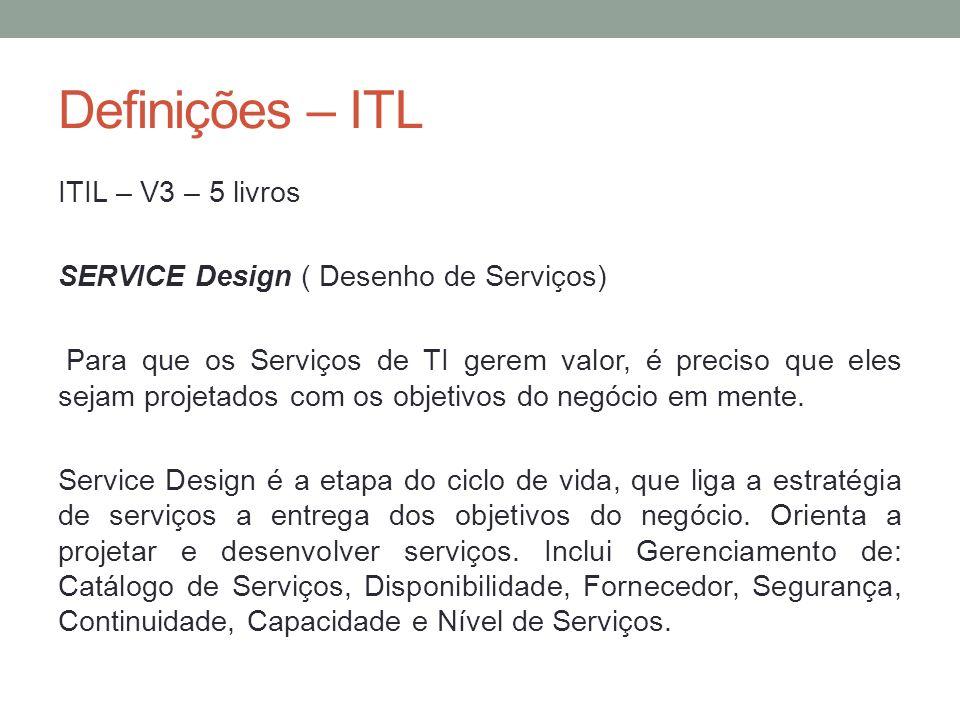 Definições – ITL ITIL – V3 – 5 livros SERVICE Design ( Desenho de Serviços) Para que os Serviços de TI gerem valor, é preciso que eles sejam projetado