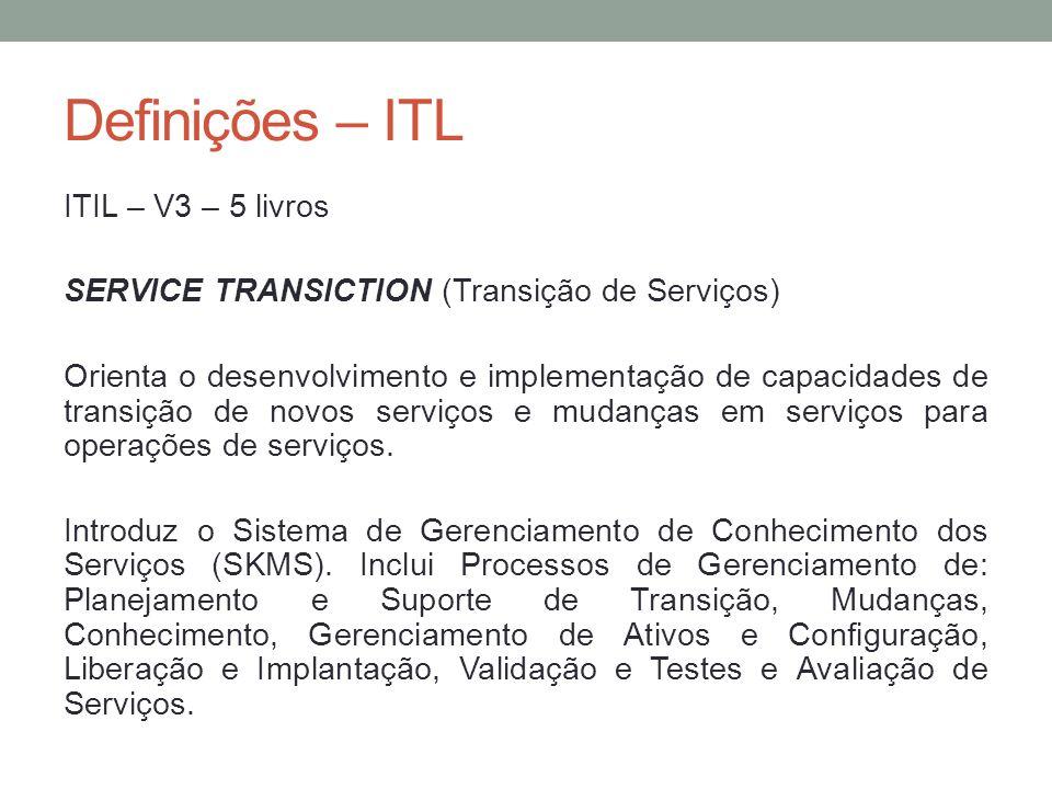 Definições – ITL ITIL – V3 – 5 livros SERVICE TRANSICTION (Transição de Serviços) Orienta o desenvolvimento e implementação de capacidades de transiçã