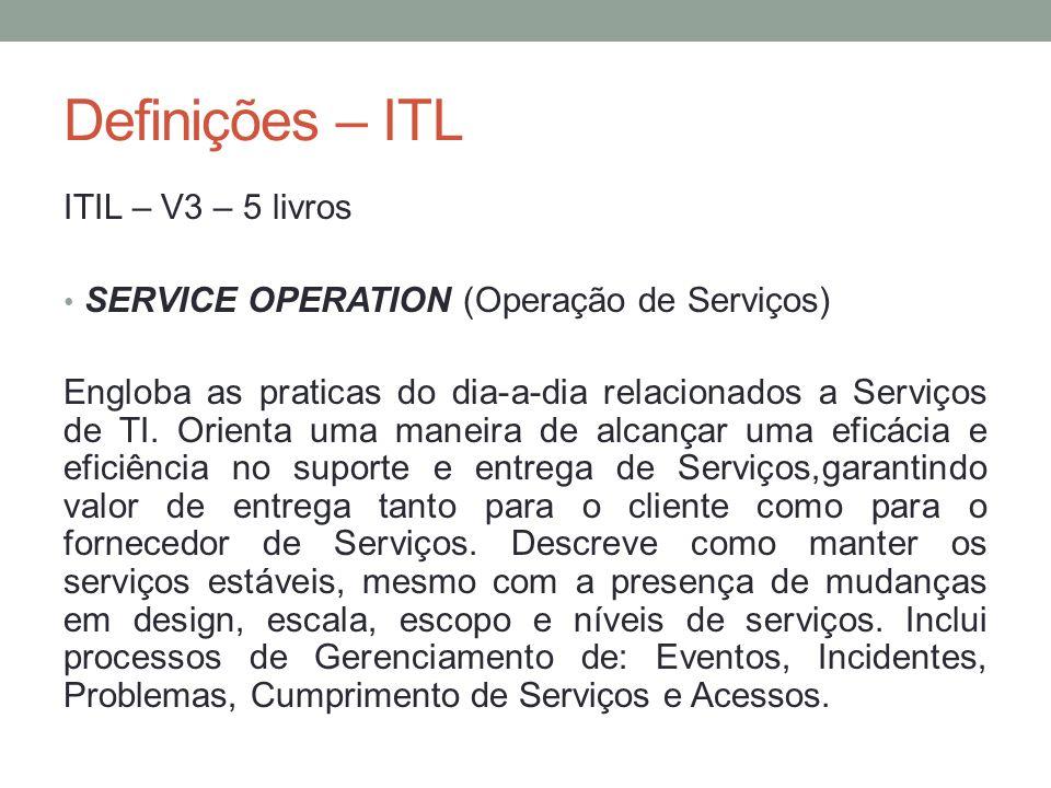 Definições – ITL ITIL – V3 – 5 livros SERVICE OPERATION (Operação de Serviços) Engloba as praticas do dia-a-dia relacionados a Serviços de TI. Orienta