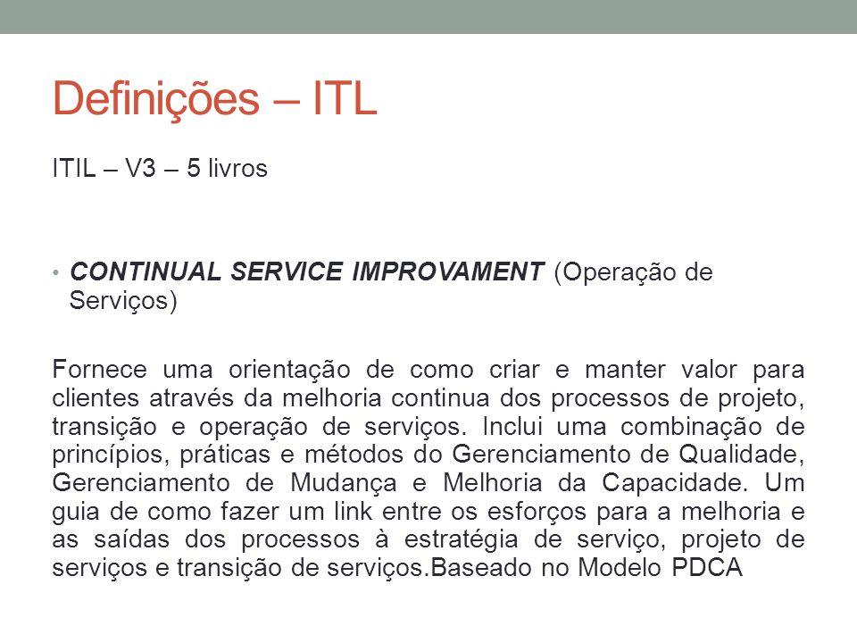 Definições – ITL ITIL – V3 – 5 livros CONTINUAL SERVICE IMPROVAMENT (Operação de Serviços) Fornece uma orientação de como criar e manter valor para cl