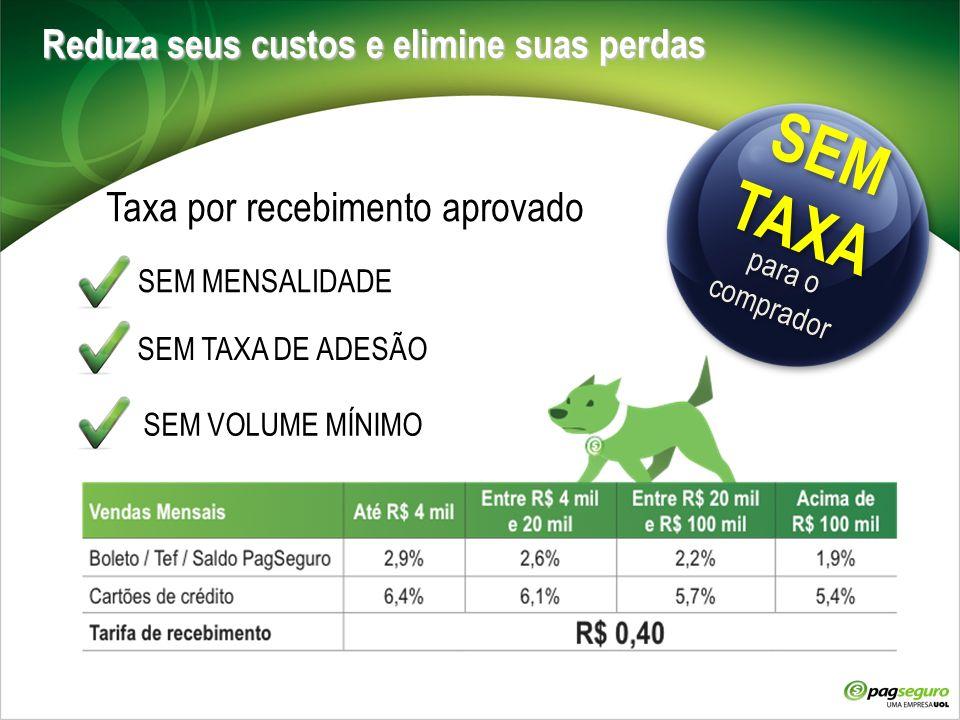 Reduza seus custos e elimine suas perdas Taxa por recebimento aprovado SEM MENSALIDADE SEM TAXA DE ADESÃO SEM VOLUME MÍNIMO SEM TAXA SEM TAXA para o c