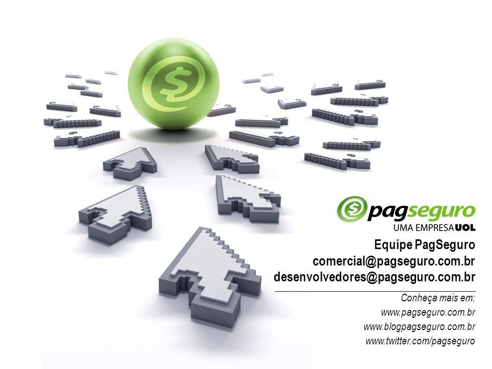 Equipe PagSeguro comercial@pagseguro.com.br desenvolvedores@pagseguro.com.br Conheça mais em: www.pagseguro.com.br www.blogpagseguro.com.br www.twitte