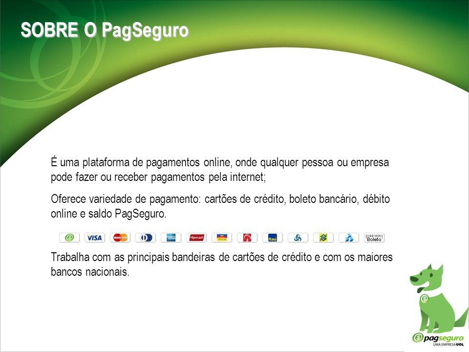 SOBRE O PagSeguro É uma plataforma de pagamentos online, onde qualquer pessoa ou empresa pode fazer ou receber pagamentos pela internet; Oferece varie