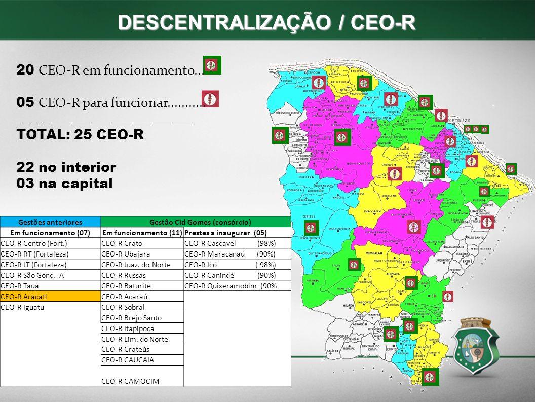 DESCENTRALIZAÇÃO / CEO-R DESCENTRALIZAÇÃO / CEO-R 20 CEO-R em funcionamento...