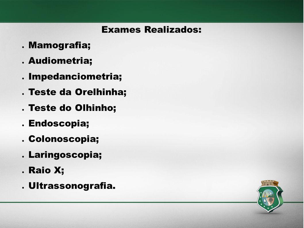 Exames Realizados: Mamografia; Audiometria; Impedanciometria; Teste da Orelhinha; Teste do Olhinho; Endoscopia; Colonoscopia; Laringoscopia; Raio X; U