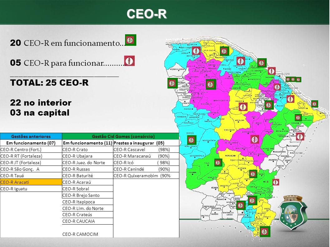 CEO-R 20 CEO-R em funcionamento... 05 CEO-R para funcionar........... __________________________ TOTAL: 25 CEO-R 22 no interior 03 na capital Gestões