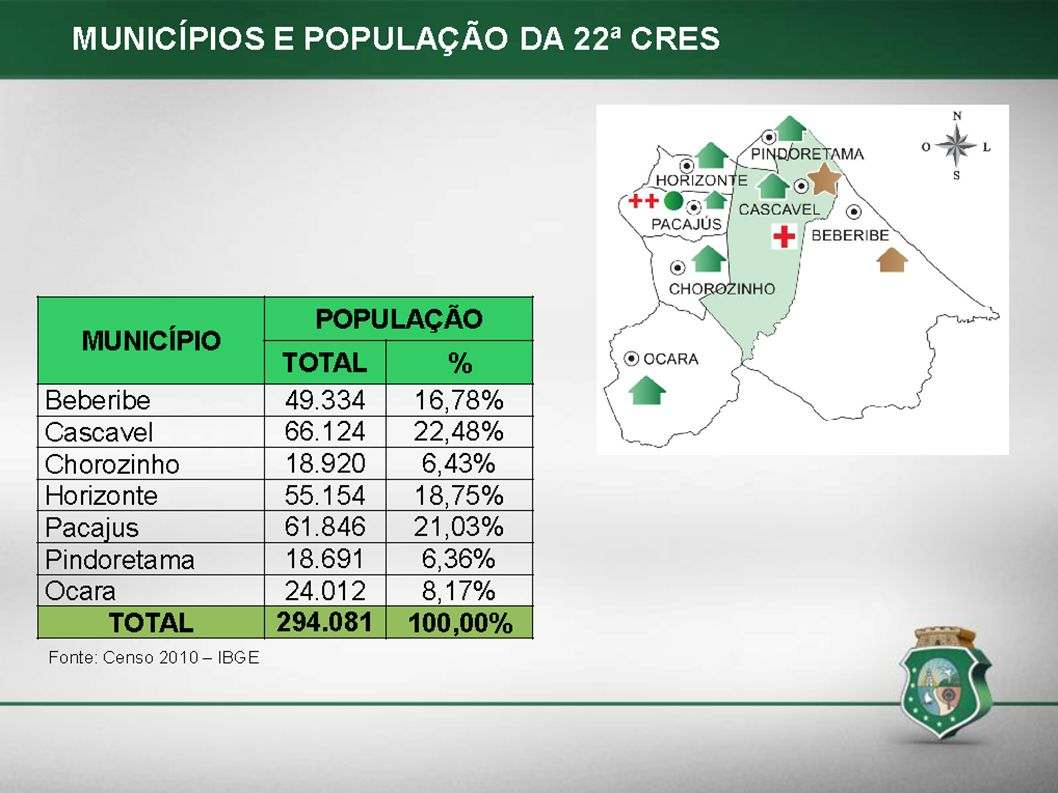 FONTE VALOR DO REPASSE VALOR DO REPASSE PÓS - REAJUSTE % CUSTEIOR$% CUSTEIOR$ Custeio Estadual40,00%90.825,5940,00%90.825,59 Custeio Municipal37,85%85.938,3837,85%85.938,38 Custeio Federal22,15%50.300,0022,15%50.300,00 TOTAL DO CUSTEIO100,00%227.063,97100,00%227.063,97 Fonte: NUASB/2012 CUSTEIO CEO-R CASCAVEL 22ª CRES CUSTEIO CEO-R CASCAVEL 22ª CRES