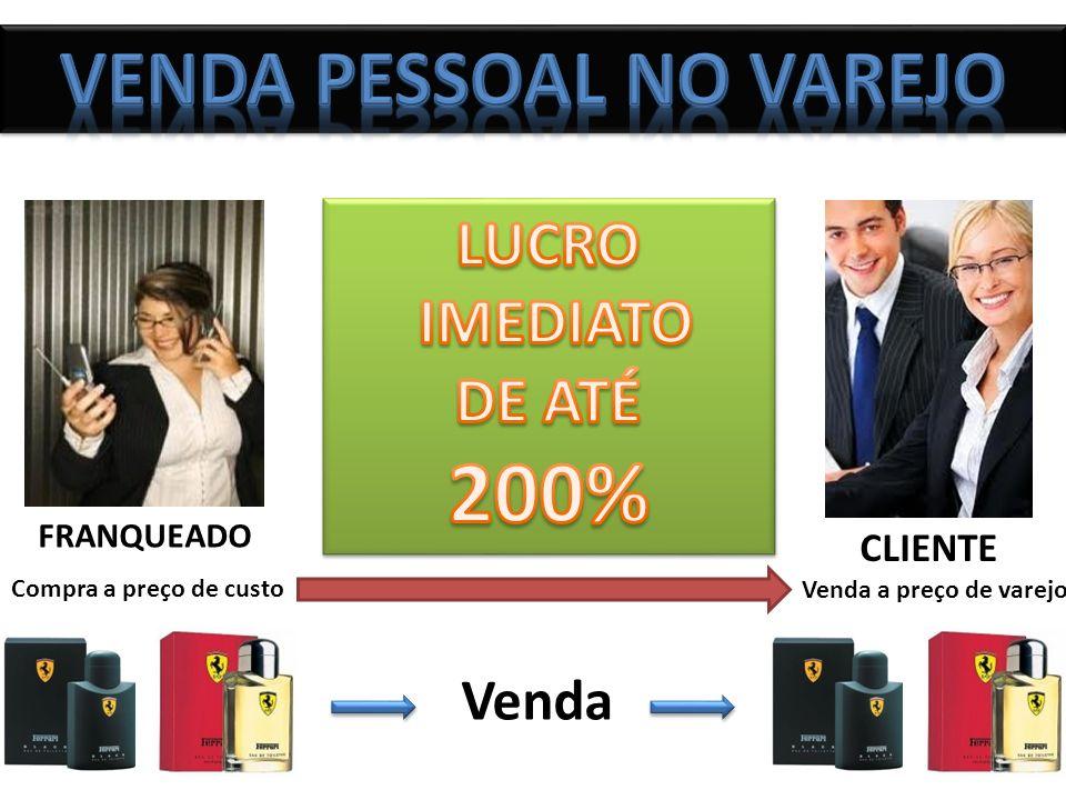FRANQUEADO CLIENTE Compra a preço de custo Venda a preço de varejo Venda