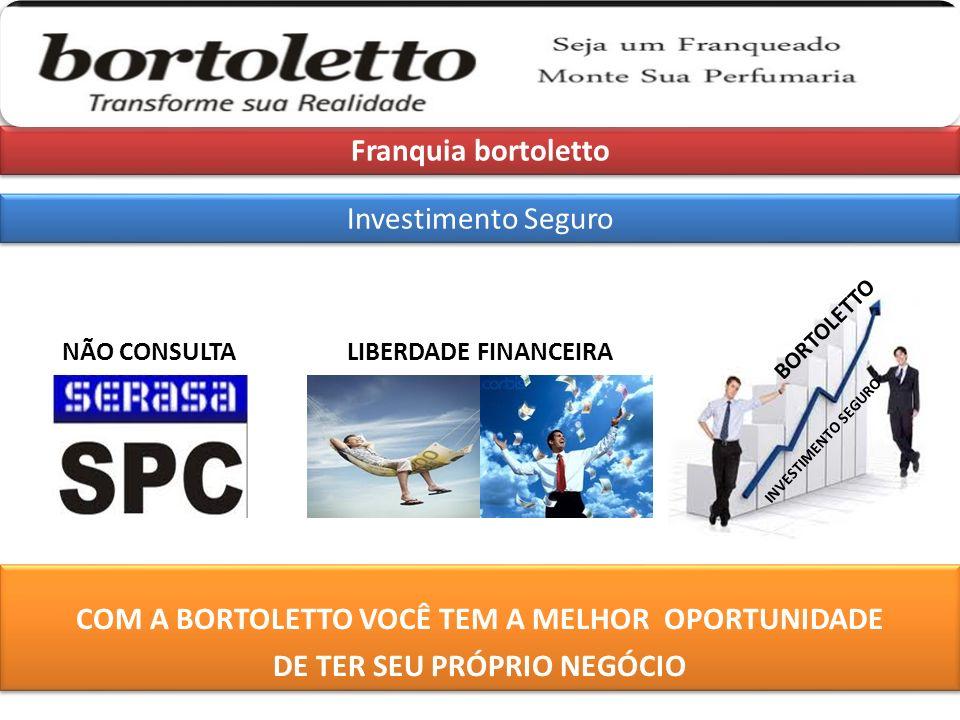 Franquia bortoletto Investimento Seguro COM A BORTOLETTO VOCÊ TEM A MELHOR OPORTUNIDADE DE TER SEU PRÓPRIO NEGÓCIO NÃO CONSULTALIBERDADE FINANCEIRA INVESTIMENTO SEGURO BORTOLETTO