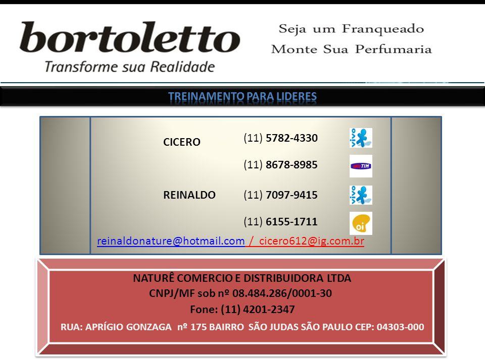 CICERO reinaldonature@hotmail.com / cicero612@ig.com.brreinaldonature@hotmail.com (11) 5782-4330 (11) 7097-9415REINALDO NATURÊ COMERCIO E DISTRIBUIDORA LTDA RUA: APRÍGIO GONZAGA nº 175 BAIRRO SÃO JUDAS SÃO PAULO CEP: 04303-000 CNPJ/MF sob nº 08.484.286/0001-30 Fone: (11) 4201-2347 (11) 6155-1711 (11) 8678-8985