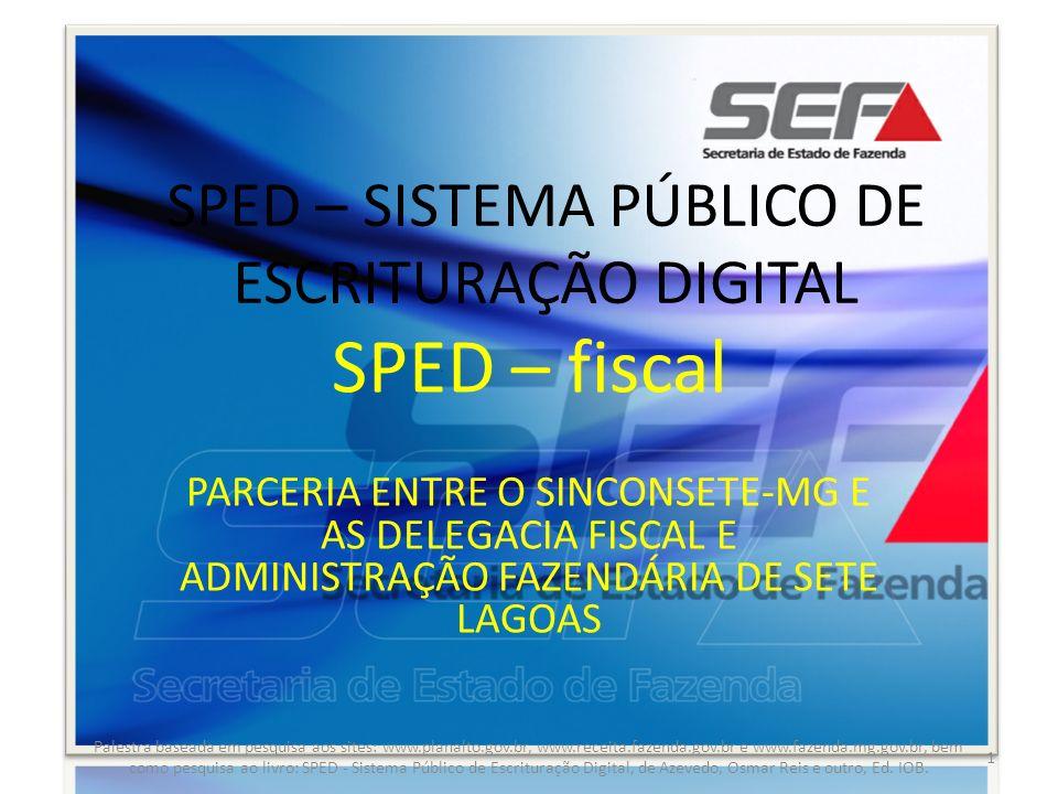 INÍCIO DOS REGISTROS PARA NOTA FISCAL/CONTA DE ENERGIA ELÉTRICA, NOTA FISCAL/CONTA DE FORNECIMENTO DÁGUA CANALIZADA E NOTA FISCAL CONSUMO DE FORNECIMENTO DE GÁS Palestra baseada em pesquisa aos sites: www.planalto.gov.br, www.receita.fazenda.gov.br e www.fazenda.mg.gov.br, bem como pesquisa ao livro: SPED - Sistema Público de Escrituração Digital, de Azevedo, Osmar Reis e outro, Ed.