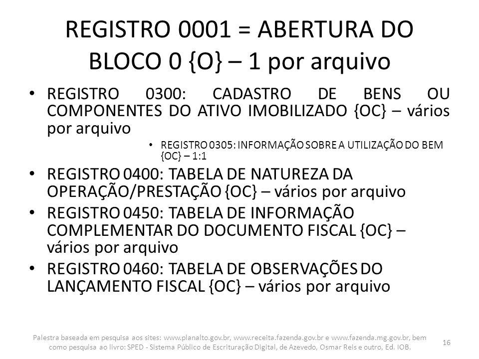 REGISTRO 0001 = ABERTURA DO BLOCO 0 {O} – 1 por arquivo REGISTRO 0300: CADASTRO DE BENS OU COMPONENTES DO ATIVO IMOBILIZADO {OC} – vários por arquivo