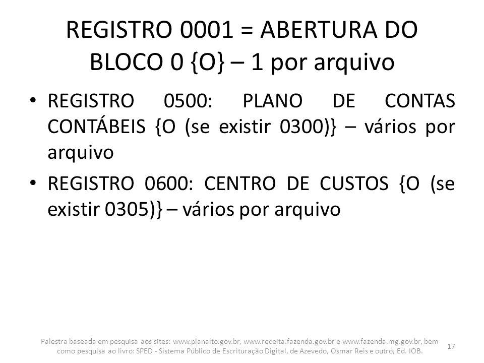 REGISTRO 0001 = ABERTURA DO BLOCO 0 {O} – 1 por arquivo REGISTRO 0500: PLANO DE CONTAS CONTÁBEIS {O (se existir 0300)} – vários por arquivo REGISTRO 0