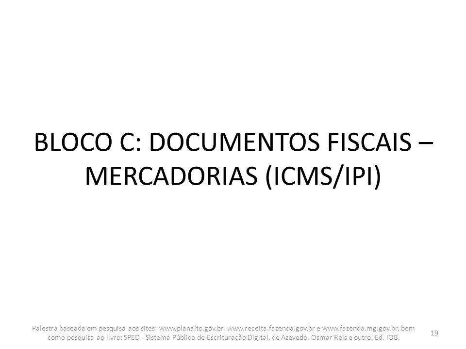 BLOCO C: DOCUMENTOS FISCAIS – MERCADORIAS (ICMS/IPI) Palestra baseada em pesquisa aos sites: www.planalto.gov.br, www.receita.fazenda.gov.br e www.faz