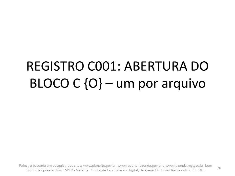 REGISTRO C001: ABERTURA DO BLOCO C {O} – um por arquivo Palestra baseada em pesquisa aos sites: www.planalto.gov.br, www.receita.fazenda.gov.br e www.