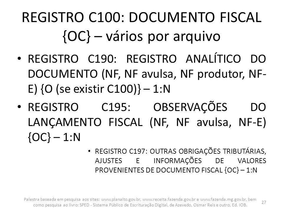 REGISTRO C100: DOCUMENTO FISCAL {OC} – vários por arquivo REGISTRO C190: REGISTRO ANALÍTICO DO DOCUMENTO (NF, NF avulsa, NF produtor, NF- E) {O (se ex