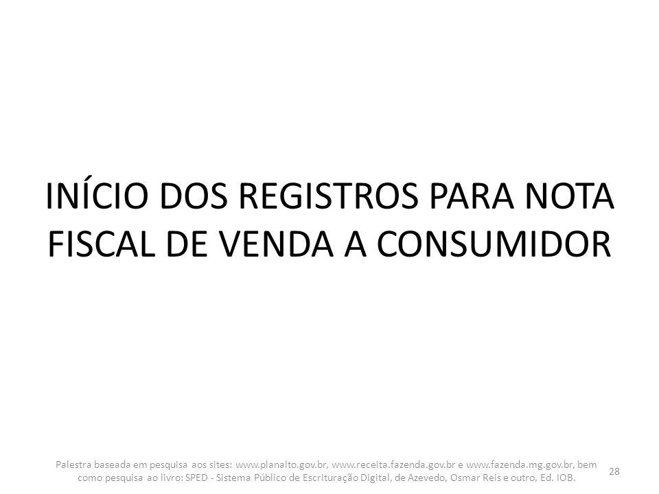 INÍCIO DOS REGISTROS PARA NOTA FISCAL DE VENDA A CONSUMIDOR Palestra baseada em pesquisa aos sites: www.planalto.gov.br, www.receita.fazenda.gov.br e