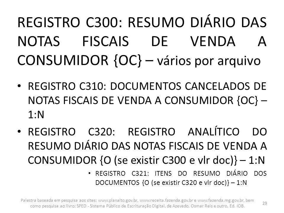 REGISTRO C300: RESUMO DIÁRIO DAS NOTAS FISCAIS DE VENDA A CONSUMIDOR {OC} – vários por arquivo REGISTRO C310: DOCUMENTOS CANCELADOS DE NOTAS FISCAIS D