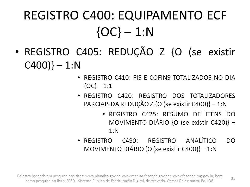 REGISTRO C400: EQUIPAMENTO ECF {OC} – 1:N REGISTRO C405: REDUÇÃO Z {O (se existir C400)} – 1:N REGISTRO C410: PIS E COFINS TOTALIZADOS NO DIA {OC} – 1