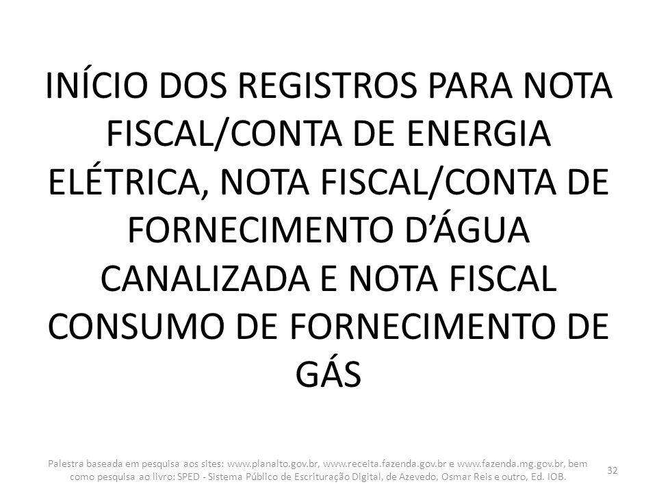 INÍCIO DOS REGISTROS PARA NOTA FISCAL/CONTA DE ENERGIA ELÉTRICA, NOTA FISCAL/CONTA DE FORNECIMENTO DÁGUA CANALIZADA E NOTA FISCAL CONSUMO DE FORNECIME